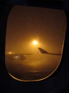 Foggy London Heathrow Airport