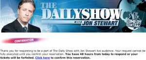 Daily Show ticket confirmation
