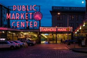 Pike Place Market at night - 2